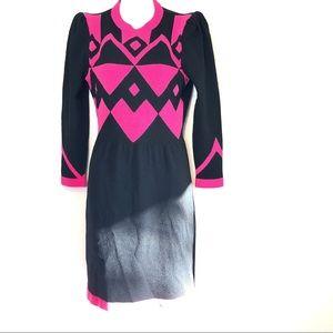 Adolfo Halloween S/M knit Dress Geometric New